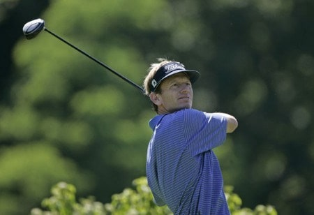 Brad Faxon tees off on the 9th hole during the first round of the Barclays Classic at the Westchester CC in Rye, NY. Thursday June 23, 2005Photo by Chris Condon/PGA TOUR/WireImage.com