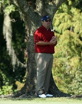 LAKE BUENA VISTA, FL - NOVEMBER 04:  Kevin Stadler waits on the ninth hole before he hit his second shot during the final round of The Children's Miracle Network Classic held on the Palm and Magnolia Courses at The Disney Shades of Green Resort, on November 4, 2007 in Lake Buena Vista, Florida.  (Photo by David Cannon/Getty Images)