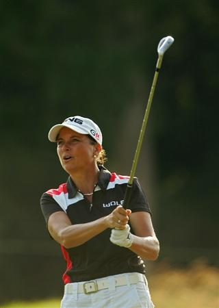 GALLOWAY, NJ - JUNE 19:  Sherri Steinhauer watches her shot from the fairway during the second round of the ShopRite LPGA Classic held at Dolce Seaview Resort (Bay Course) on June 19, 2010 in Galloway, New Jersey.  (Photo by Michael Cohen/Getty Images)