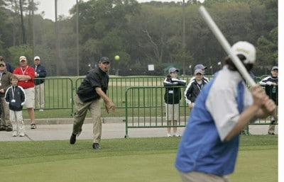 Bo Van Pelt plays in an impromptu cricket match after golf was suspended during the final round of the Verizon Heritage Classic at the Harbour Town Golf Links in Hilton Head, South Carolina on April 15, 2007 Photo by Michael Cohen/WireImage.com