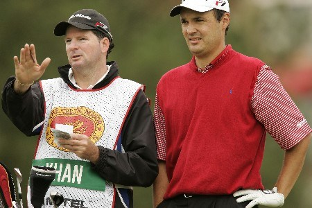 Simon Khan waits to play during the final round of the 2005 Celtic Manor Wales Open at Celtic Manor's Roman Road course. June 5, 2005Photo by Pete Fontaine/WireImage.com
