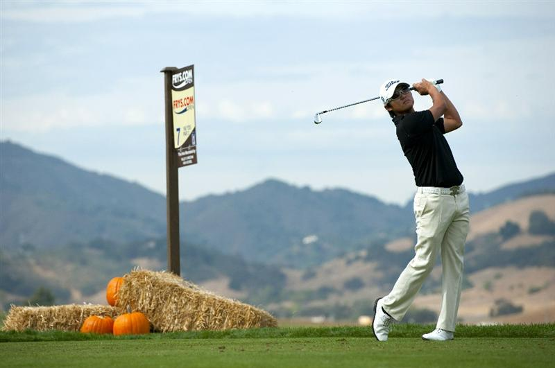 SAN MARTIN, CA - OCTOBER 16:  Ryuji Imada of Japan makes a tee shot on the seventh hole during the third round of the Frys.com Open at the CordeValle Golf Club on October 16, 2010 in San Martin, California.  (Photo by Robert Laberge/Getty Images)