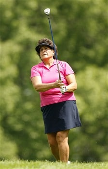 ROCHESTER, NY - JUNE 20: Nancy Lopez hits her second shot on the 10th hole during the second round of the Wegmans LPGA at Locust Hill Country Club on June 20, 2008 in Rochester, New York. (Photo by Hunter Martin/Getty Images)