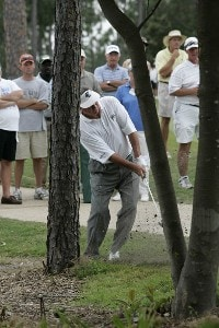 Bobby Wadkins hits from the trees on the 14th hole during the third and final round of the Boeing Championship at Sandestin at Raven Golf Club in Destin, Florida on May 14, 2006.Photo by Michael Cohen/WireImage.com