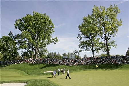 ROCHESTER NY - MAY 25: Bernhard Langer of Germany and Jeff Sluman walk onto the 13th green during the final round of the 69th Senior PGA Championship at Oak Hill Country Club - East Course on May 25 2008 in Rochester, New York. (Photo by Hunter Martin/Getty Images)