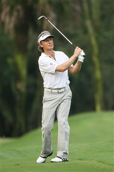 PONTE VEDRA BEACH, FL - MAY 08:  Bernhard Langer of Germany putts on the green of the 12th hole during the first round of the THE PLAYERS Championship on THE PLAYERS Stadium Course at TPC Sawgrass on May 8, 2008 in Ponte Vedra Beach, Florida.  (Photo by Andy Lyons/Getty Images)