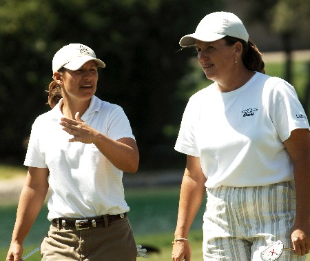 Heather Bowie and Lori Kane walk up the fairway to the 18th green during the first round of the 2005 LPGA Takefuji Classic at the Las Vegas Country Club in Las Vegas, Nevada, April 14, 2005Photo by Steve Grayson/WireImage.com