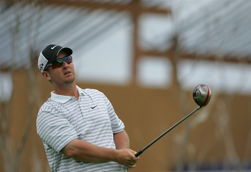 RIVIERA MAYA, MEXICO - FEBRUARY 18:  David Duval watches his drive during the first round of the Mayakoba Golf Classic at El Camaleon Golf Club held on February 18, 2010 in Riviera Maya, Mexico.  (Photo by Michael Cohen/Getty Images)