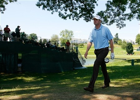 CROMWELL, CT - JUNE 21:  D. J. Trahan heads to the 18th tee box  during the third round of the Travelers Championship at TPC River Highlands held on June 21, 2008 in Cromwell, Connecticut. (Photo by Jim Rogash/Getty Images)