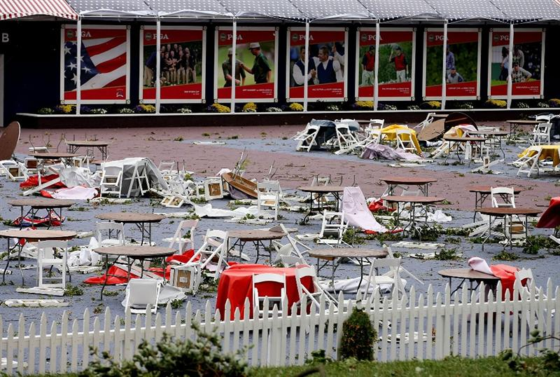 LOUISVILLE, KY - SEPTEMBER 14:  Chairs and tables are strewn about after high winds damaged the course prior to the 37th Ryder Cup at Valhalla Golf Club on September 14, 2008 in Louisville, Kentucky.  (Photo by Andy Lyons/Getty Images)