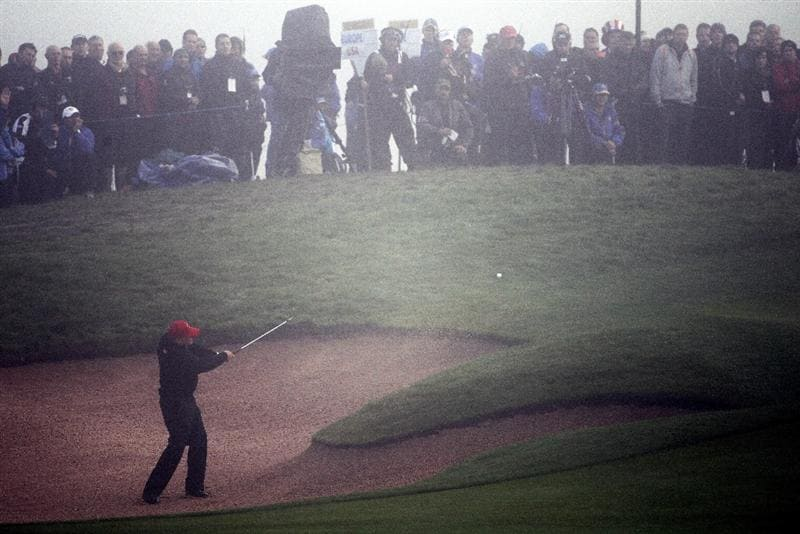 NEWPORT, WALES - OCTOBER 04:  Steve Stricker of the USA plays a bunker shot on the first hole in the singles matches during the 2010 Ryder Cup at the Celtic Manor Resort on October 4, 2010 in Newport, Wales.  (Photo by Jamie Squire/Getty Images)