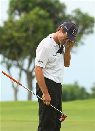 JAKARTA, INDONESIA - MARCH 01:  A dejectid Steve Webster of England after missing a putt on the 18th green during the final round of the 2009 Enjoy Jakarta Indonesian Open at New Kuta Golf Club on March 1, 2009 in Bali, Indonesia.  (Photo by Ian Walton/Getty Images)