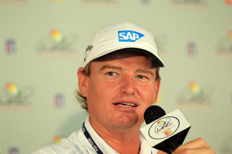 ORLANDO, FL - MARCH 22:  Ernie Els of South Africa the defending champion talking to the journalists during his media conference as a preview for the 2011 Arnold Palmer Invitational presented by Mastercard at the Bay Hill Lodge and Country Club on March 22, 2011 in Orlando, Florida.  (Photo by David Cannon/Getty Images)