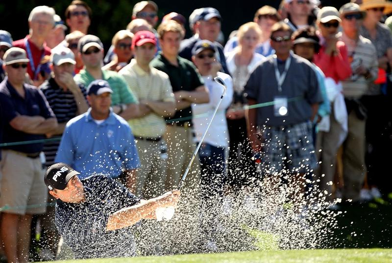 CHARLOTTE, NC - APRIL 29:  Angel Cabrera of Argentina hits from the sand on the 18th hole during the first round of the Quail Hollow Championship at Quail Hollow Country Club on April 29, 2010 in Charlotte, North Carolina.  (Photo by Streeter Lecka/Getty Images)