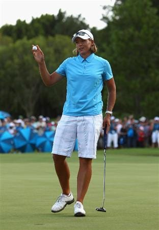 GOLD COAST, AUSTRALIA - MARCH 07:  Katherine Hull of Australia thanks the crowd after finishing her round during round four of the 2010 ANZ Ladies Masters at Royal Pines Resort on March 7, 2010 in Gold Coast, Australia.  (Photo by Ryan Pierse/Getty Images)