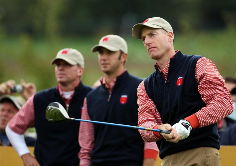 NEWPORT, WALES - SEPTEMBER 30:  Jim Furyk (R) of the USA watches a shot as Dustin Johnson and Steve Stricker look on during a practice round prior to the 2010 Ryder Cup at the Celtic Manor Resort on September 30, 2010 in Newport, Wales.  (Photo by Andy Lyons/Getty Images)