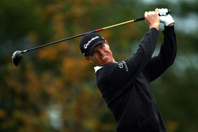 VERONA, NY - OCTOBER 01: John Senden of Australia tees off on the 5th hole during the first round of the 2009 Turning Stone Resort Championship at Atunyote Golf Club held on October 1, 2009 in Verona, New York.  (Photo by Chris Trotman/Getty Images)