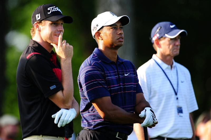 CHASKA, MN - AUGUST 11: (L-R) Nick Watney, Tiger Woods and Hank Haney look on during the second preview day of the 91st PGA Championship at Hazeltine National Golf Club on August 11, 2009 in Chaska, Minnesota.  (Photo by Stuart Franklin/Getty Images)