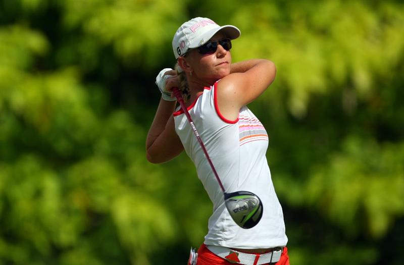 SINGAPORE - MARCH 06:  Louise Friberg of Sweden on action during the second round of the HSBC Women's Champions at Tanah Merah Country Club on March 6, 2009 in Singapore.  (Photo by Andrew Redington/Getty Images)