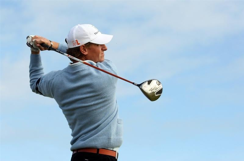 ST ANDREWS, SCOTLAND - SEPTEMBER 30:  Maarten Lafeber of Holland in action during the final practice round of The Alfred Dunhill Links Championship at The Old Course on September 30, 2009 in St. Andrews, Scotland.  (Photo by Ross Kinnaird/Getty Images)