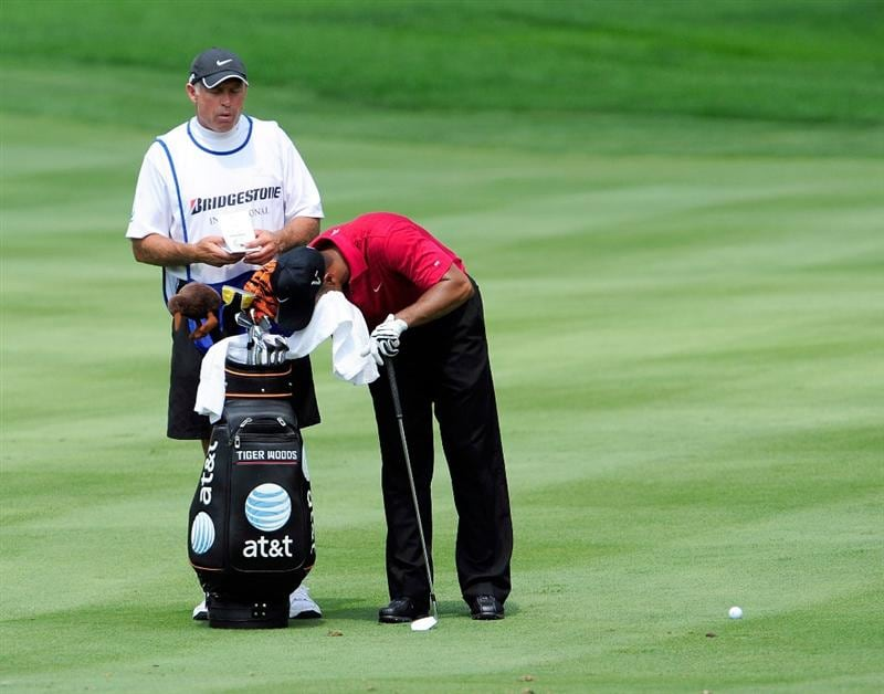 AKRON, OH - AUGUST 09:  Tiger Woods waits to play a shot on the 1st hole during the final round of the WGC-Bridgestone Invitational on the South Course at Firestone Country Club on August 9, 2009 in Akron, Ohio.  (Photo by Sam Greenwood/Getty Images)
