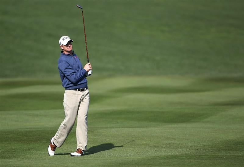 PEBBLE BEACH, CA - FEBRUARY 13:  Tom Gillis hits from the 2nd fairway at the AT&T Pebble Beach National Pro-Am- Final Round at the Pebble Beach Golf Links on February 13, 2011 in Pebble Beach, California.  (Photo by Jed Jacobsohn/Getty Images)