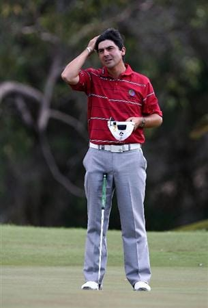PERTH, AUSTRALIA - FEBRUARY 21:  Felipe Aguilar of Chile waits to putt on the 4th green during round three of the 2009 Johnnie Walker Classic at The Vines Resort and Country Club on February 21, 2009 in Perth, Australia.  (Photo by Paul Kane/Getty Images)