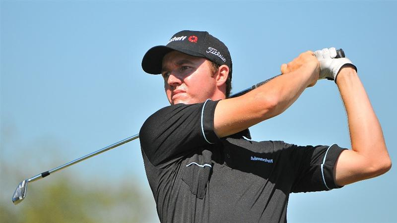SAN ANTONIO, TX - OCTOBER 10: Jimmy Walker tees off the par three 17th hole during the second round of the Valero Texas Open  held at La Cantera Golf Club on October 10, 2008 in San Antonio, Texas. (Photo by Marc Feldman\Getty Images)