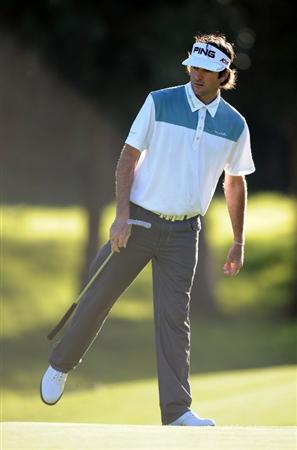 PACIFIC PALISADES, CA - FEBRUARY 17:  Bubba Watson reacts to a birdie putt on the seventh hole during the first round of the Northern Trust Open at the Riviera Country Club on February 17, 2011 in Pacific Palisades, California.  (Photo by Harry How/Getty Images)
