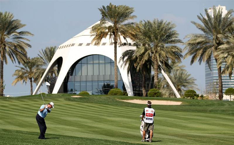 DUBAI, UNITED ARAB EMIRATES - FEBRUARY 11:  Todd Hamilton of the USA on the par four 8th hole during the second round the Omega Dubai Desert Classic on the Majlis course at the Emirates Golf Club on February 11, 2011 in Dubai, United Arab Emirates.  (Photo by Ross Kinnaird/Getty Images)