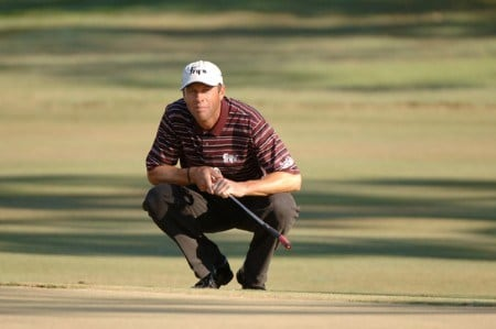 First-round leader Jeff Brehaut studies a putt on the eight green during the second round of the 2005 Chrysler Championship at the Westin Innsbrook Resort, Copperhead Course in Palm Harbor, Florida on October 28, 2005.Photo by Al Messerschmidt/WireImage.com