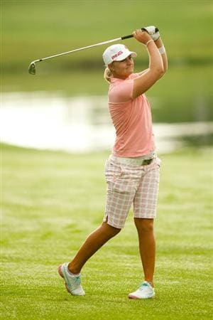 SPRINGFIELD, IL - JUNE 14:  Anna Nordqvist of Sweden follows through on an approach shot during the continuation of the final round of the LPGA State Farm Classic at Panther Creek Country Club on June 14, 2010 in Springfield, Illinois. (Photo by Darren Carroll/Getty Images)