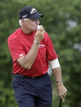 BIRMINGHAM, AL - MAY 18:  Bruce Fleisher kisses his ball after making a putt on the 13th green during the final round of the Regions Charity Classic at the Ross Bridge Golf Resort on May 18, 2008 in Birmingham, Alabama. (Photo by Dave Martin/Getty Images)
