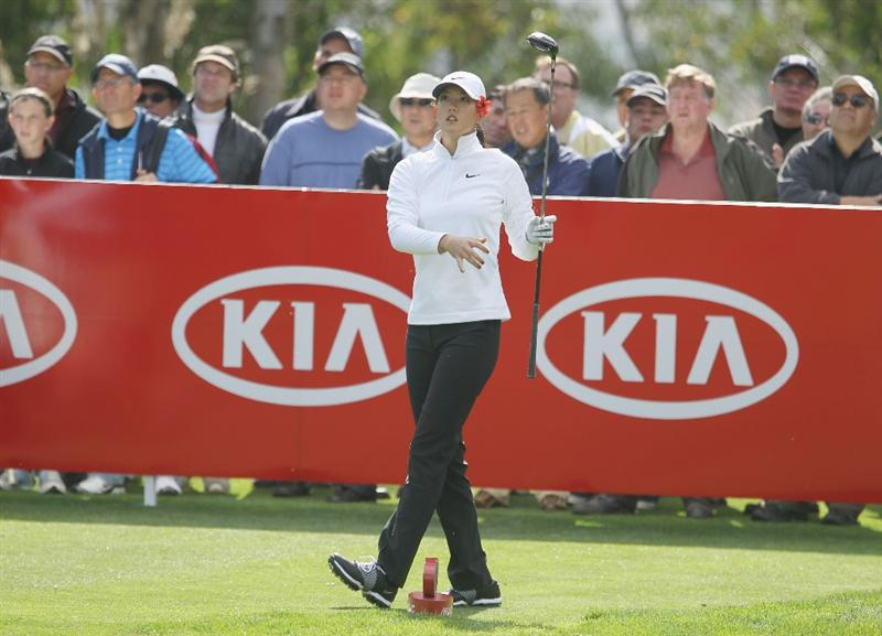 CITY OF INDUSTRY, CA - MARCH 24:  Michelle Wie watches her tee shot on the 12th hole during the first round of the Kia Classic on March 24, 2011 at the Industry Hills Golf Club in the City of Industry, California.  (Photo by Scott Halleran/Getty Images)