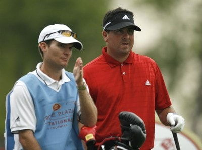 Pat Perez and his caddy go over his options from the 18th tee during the second round of the Crowne Plaza Invitational at Colonial at the Colonial Country Club in Fort Worth, Texas on May 25, 2007. PGA TOUR - 2007 Crowne Plaza Invitational at Colonial - Second RoundPhoto by Steve Grayson/WireImage.com