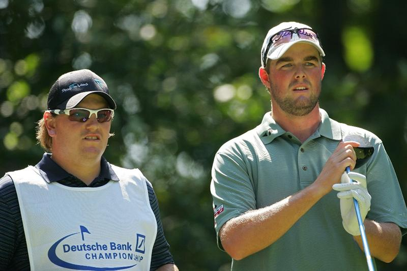 NORTON, MA - SEPTEMBER 05:  Marc Leishman of Australia waits to play during the second round of the Deutsche Bank Championship at TPC Boston held on September 5, 2009 in Norton, Massachusetts.  (Photo by Michael Cohen/Getty Images)
