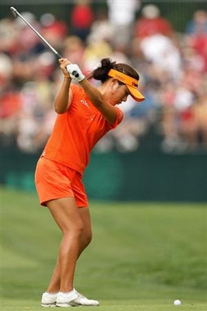 BETHLEHEM, PA - JULY 11:  Hee Young Park of South Korea makes a shot from the fairway on the 8th hole during the third round of the 2009 U.S. Women's Open at Saucon Valley Country Club on July 11, 2009 in Bethlehem, Pennsylvania.  (Photo by Chris Graythen/Getty Images)