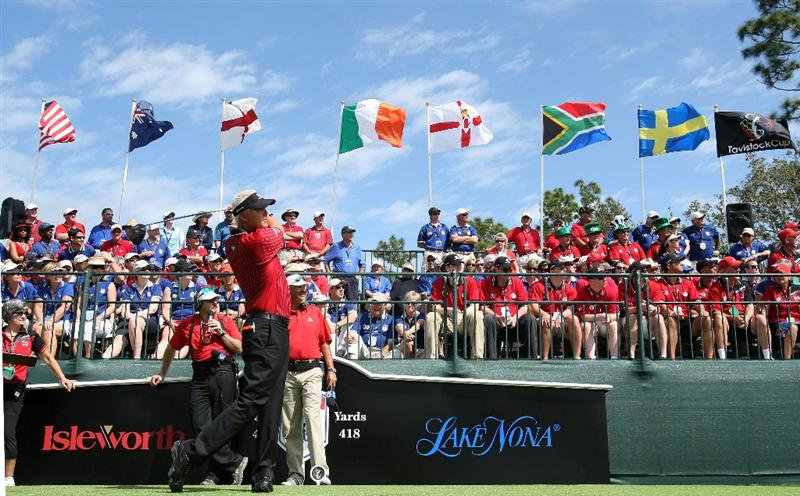 ORLANDO, FL - MARCH 17:  Daniel Chopra of Sweden and the Isleworth Team tees off on the first hole during the second day of the 2009 Tavistock Cup at the Lake Nona Golf and Country Club, on March 17, 2009 in Orlando, Florida  (Photo by David Cannon/Getty Images)