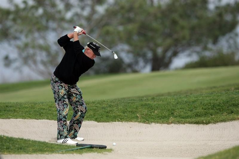 LA JOLLA, CA - JANUARY 30:  John Daly out of thw 4th fairway bunker during the final round of the Farmers Insurance Open at the Torrey Pines South Course on January 30, 2011 in La Jolla, California.  (Photo by Donald Miralle/Getty Images)