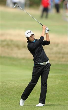 LYTHAM ST ANNES, ENGLAND - AUGUST 01:  Song-Hee Kim of Korea hits her second shot on the 2nd hole during the third round of the 2009 Ricoh Women's British Open Championship held at Royal Lytham St Annes Golf Club, on August 1, 2009 in Lytham St Annes, England.  (Photo by David Cannon/Getty Images)