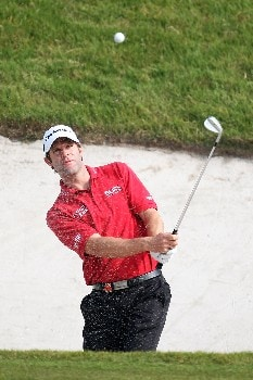 SHANGHAI, CHINA - NOVEMBER 09: Bradley Dredge of Wales plays from the bunker on 8th during Day 2 of the HSBC Champions at the Sheshan Golf Club on November 9, 2007 in Shanghai, China.  (Photo by Ross Kinnaird/Getty Images)