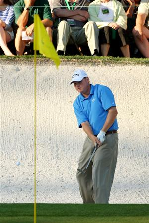 AUGUSTA, GA - APRIL 11:  Chad Campbell watches a bunker shot on the 16th hole during the third round of the 2009 Masters Tournament at Augusta National Golf Club on April 11, 2009 in Augusta, Georgia.  (Photo by Andrew Redington/Getty Images)