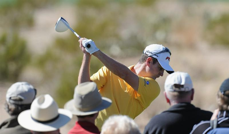 MARANA, AZ - FEBRUARY 22:  Justin Rose of England hits a shot during practice prior to the start of the World Golf Championships-Accenture Match Play Championship held at The Ritz-Carlton Golf Club, Dove Mountain on February 22, 2011 in Marana, Arizona.  (Photo by Stuart Franklin/Getty Images)