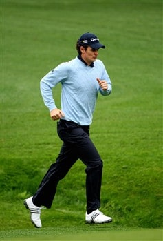 AUGUSTA, GA - APRIL 08:  Justin Rose of England runs along the second cut during the second day of practice prior to the start of the 2008 Masters Tournament at Augusta National Golf Club on April 8, 2008 in Augusta, Georgia.  (Photo by Andrew Redington/Getty Images)