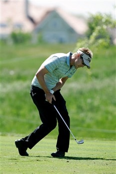 GLENVIEW, IL - JUNE 1:  Niklas Lemke reacts to his tee shot on the 18th hole during The Final Round of the Bank of America Open at The Glen Club on June 1, 2008 in Glenview, Illinois. (Photo by Scott Boehm/Getty Images)