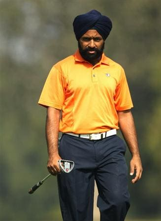 NEW DELHI, INDIA - FEBRUARY 20:  Sujjan Singh of India competes during the fourth round of the Avantha Masters held at The DLF Golf and Country Club on February 20, 2011 in New Delhi, India.  (Photo by Ian Walton/Getty Images)