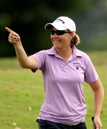 SINGAPORE - FEBRUARY 25:  Lindsey Wright of Australia gestures after chipping in on the first hole during the first round of the HSBC Women's Champions at the Tanah Merah Country Club on February 25, 2010 in Singapore.  (Photo by Andrew Redington/Getty Images)