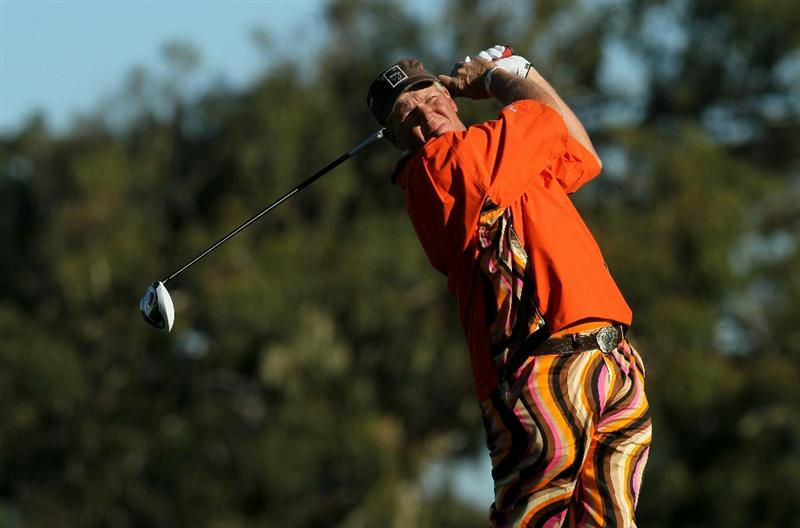 LA JOLLA, CA - JANUARY 27:  John Daly hits his tee shot on the second hole during round one of the Farmers Insurance Open at Torrey Pines North Course on January 27, 2011 in La Jolla, California.  (Photo by Stephen Dunn/Getty Images)