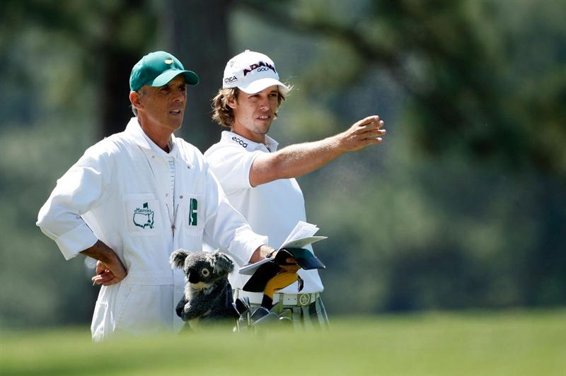 AUGUSTA, GA - APRIL 09:  Aaron Baddeley of Australia lines up a shot on the first hole during the first round of the 2009 Masters Tournament at Augusta National Golf Club on April 9, 2009 in Augusta, Georgia.  (Photo by Jamie Squire/Getty Images)