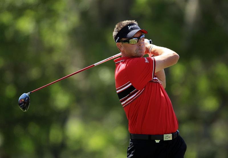ORLANDO, FL - MARCH 23:  Robert Allenby of Australia and the Isleworth Team watches his tee shot on the 3rd hole during the second day's play in the 2010 Tavistock Cup, at the Isleworth Golf and Country Club on March 23, 2010 in Orlando, Florida.  (Photo by David Cannon/Getty Images)